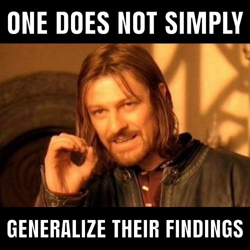 You must assess your sample demographics before you can generalise your findings