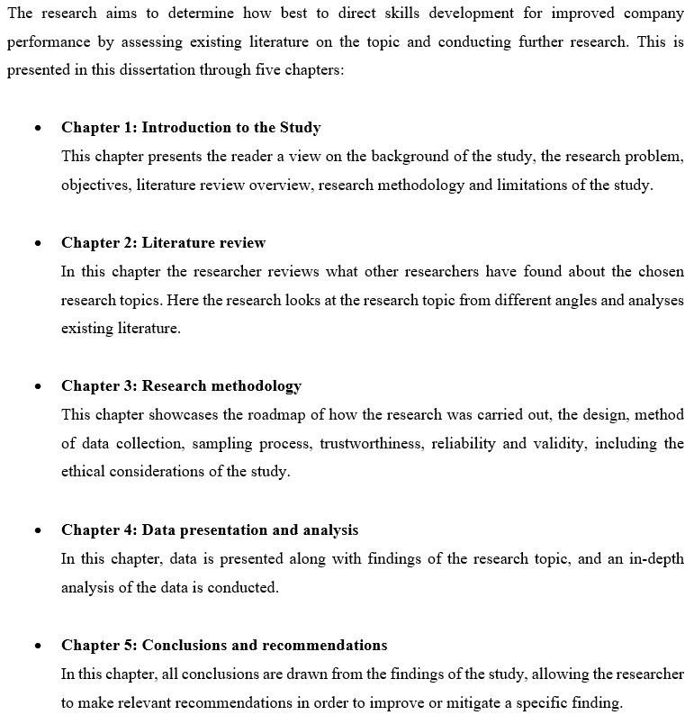 The introduction chapter should include and overview of your dissertation structure