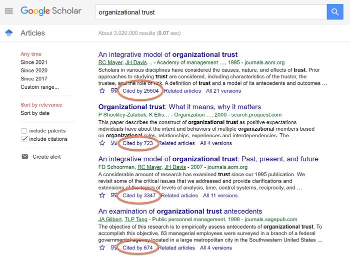 Google scholar for landmark studies